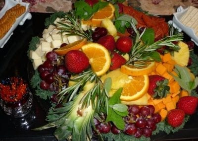 Close-up photo of a very colorful fruit and cheese tray