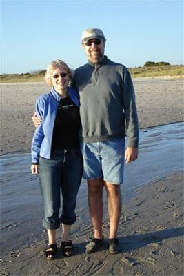 Guest Photos- Couple standing on Cape May beach sand.